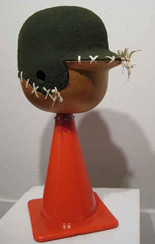 Title/Materials: Baseball Helmets, Parking Cone, Shoe Laces