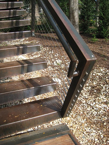 Exterior Steel Stair with Cable Rail