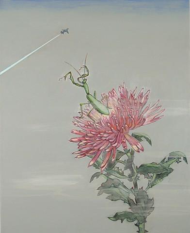 Chrysanthemum and Praying Mantis