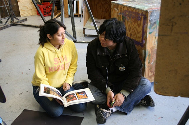 Rosa and Mark discussing the work of David Wojnarowicz