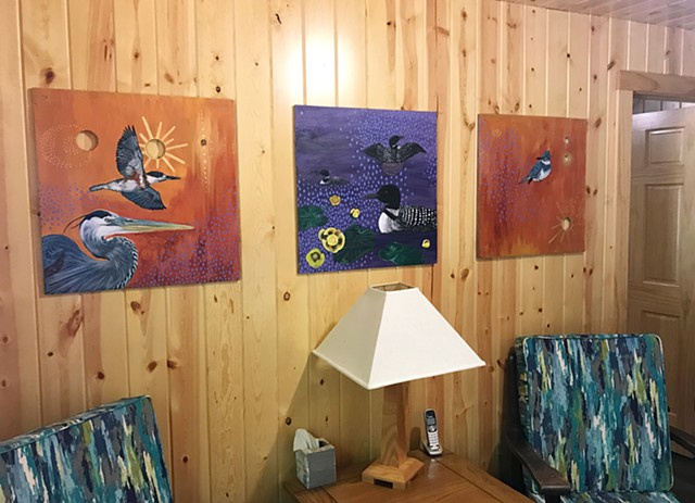 Set of triptych paintings I made out of wood scraps found at our family cabin. The paintings reside there permanently, and they depict a Great Blue Heron, King Fishers, and Common Loons.