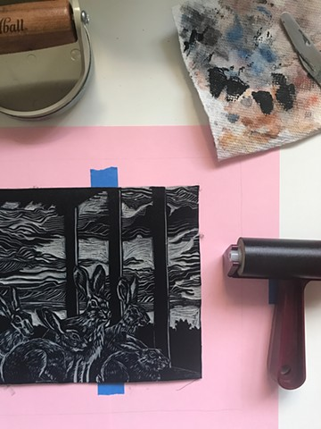 Ready to test print The Anticipation linocut plate!
