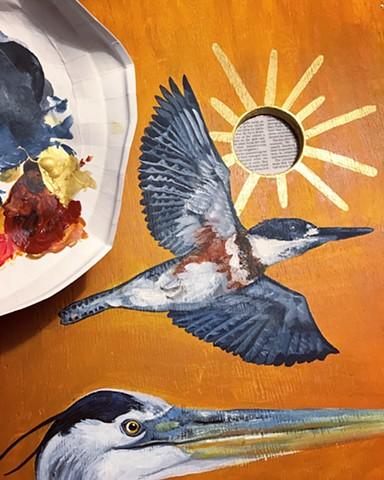 Process picture from a set of triptych paintings I made out of wood scraps found at our family cabin. The paintings reside there permanently, and they depict a Great Blue Heron, King Fishers, and Common Loons.