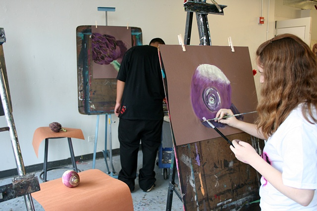 Ilana painting her final still life