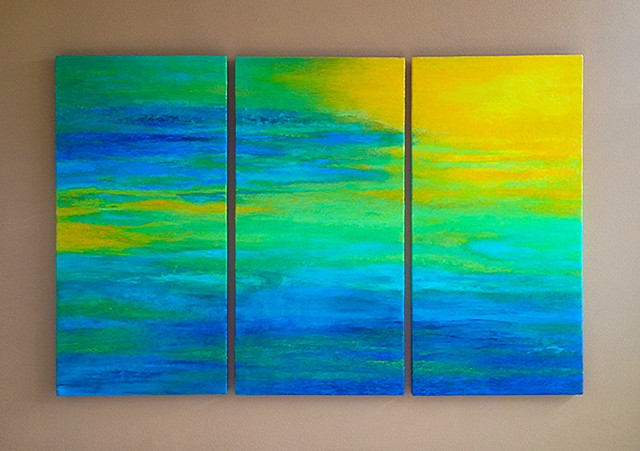 Commissioned triptych, acrylic on three canvases
