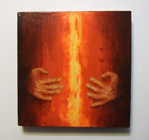 acrylic gloss red orange hands fire texture abstract