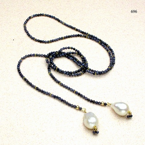 faceted blue sapphire lariat w/ vermeil Bali accents and baroque pearl drops.(#696)
