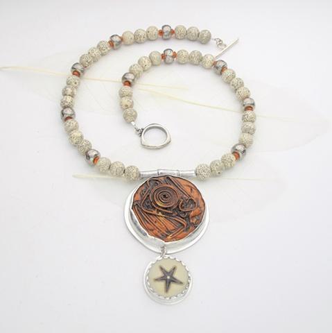 Bezel set vintage buttons, orange & starfish (#734)