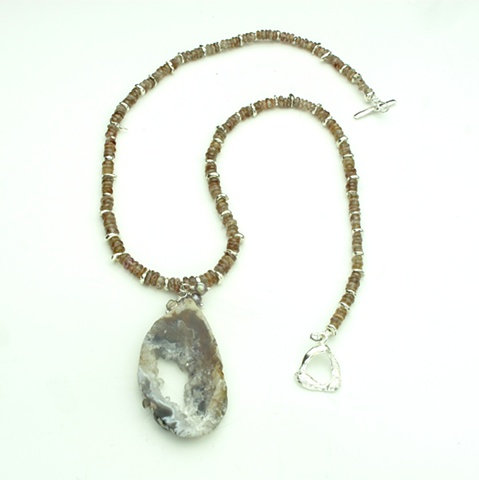 crystalized agate slice pendant, faceted, Australian natural zircon, silver findings