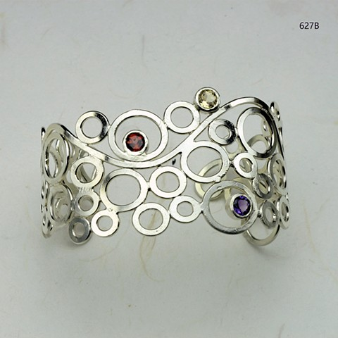 floating orbs silver cuff bracelet with bezel set 5mm amethyst, citrine and garnet (627B)