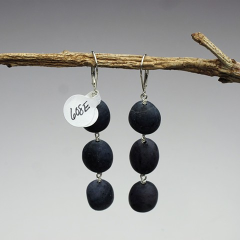 "3 wire wrapped dumortierite pebble beads hang from sterling leverback (2"")  (color is subtle mottled blue/black) (#608E)"