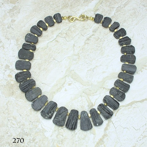 "unpolished German cut black tourmaline w/ vermeil findings (#270) 17 1/2"" length"