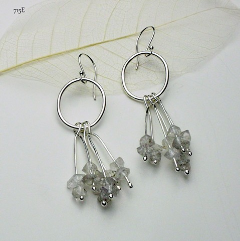 sterling silver  w/ crystal quartz nuggets on sterling silver ear wires (#715E)