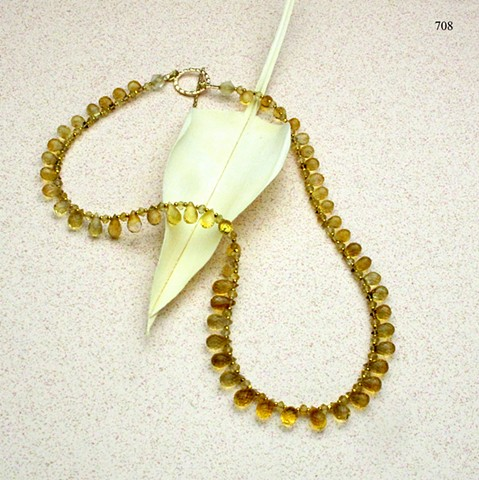 """sparkling citrine faceted briolettes 16"""" necklace finished with a gold filled toggle clasp (#708)"""