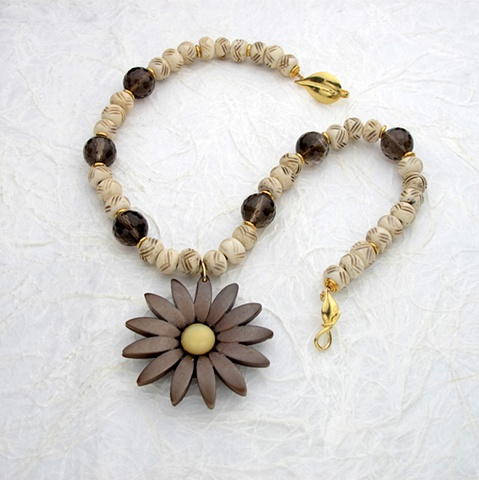 vintage flower pendant, smoky quartz (#863)