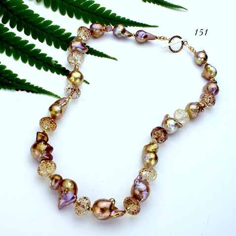 golden baroque pearls, faceted amber quartz, gold filled findings (#151)