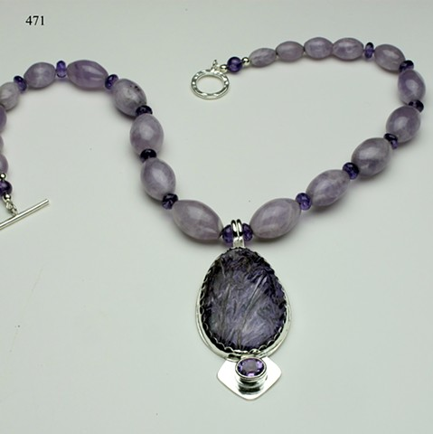 chariot and faceted amethyst silver pendant with 2 varieties of amethyst beads, finished with a silver toggle (#471)
