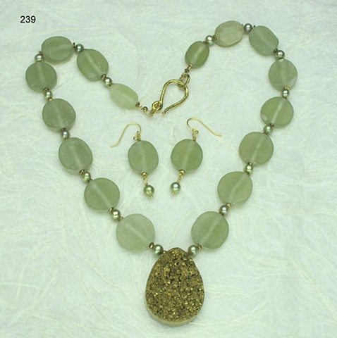 gold plated druse pendant paired w/ natural Afghan jade, dyed freshwater pearls & brass findings (#239) matching earrings have been sold