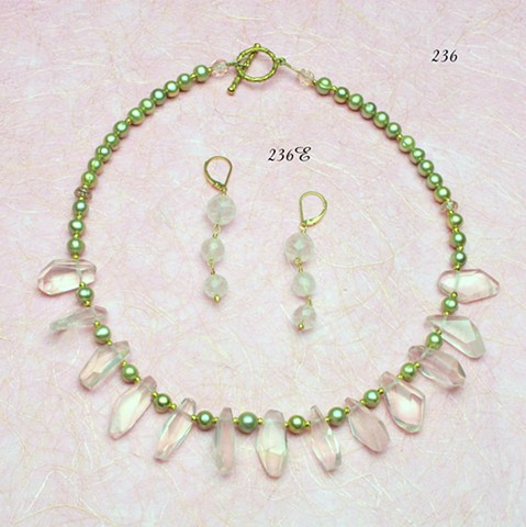 Madagascan rose quartz prisms,  green dyed freshwater pearls, brass findings (#236); coordinating rose quartz drop earrings have been sold