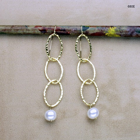 """large hammered g/f links w/ hanging pearls on g/f ear wires (3"""") (#677E)"""