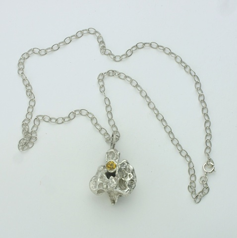 "poured silver pendant w/ bezel set citrine on 16"" silver chain (#848)"