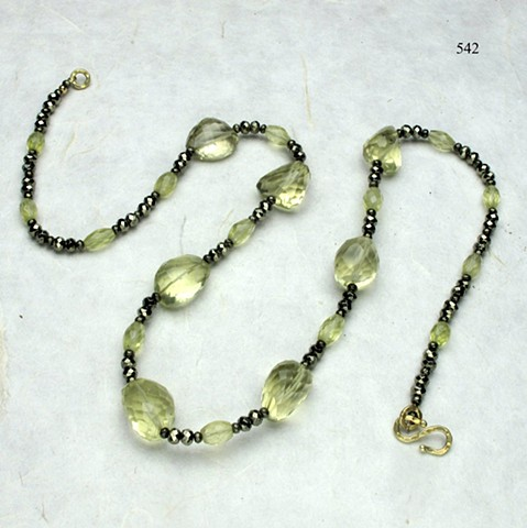"29"" rope of luscious lemon quartz & pyrite, finished with a vermeil clasp (#542)"