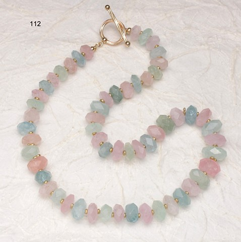 exquisite pastel hued step-cut gem quality beryl, vermeil beads, gold filled toggle (#112)