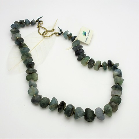 """earthly delight: old tumbled fluorite nuggets strung on silk cord with brass beads & clasp, 24"""" (#927)"""
