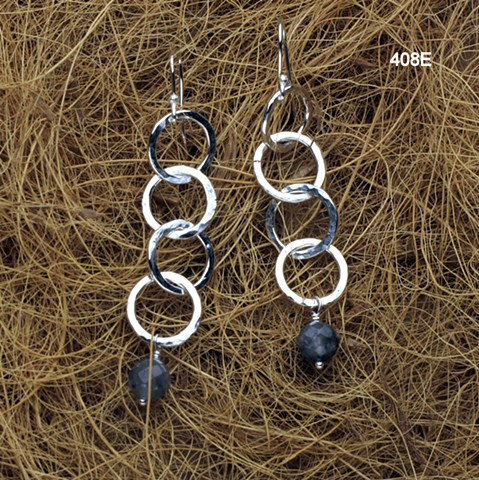 hammered silver links with laborodite on silver ear wires (#408E)