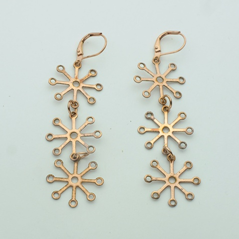 vintage copper watch findings hang from copper lever back  (#829E)
