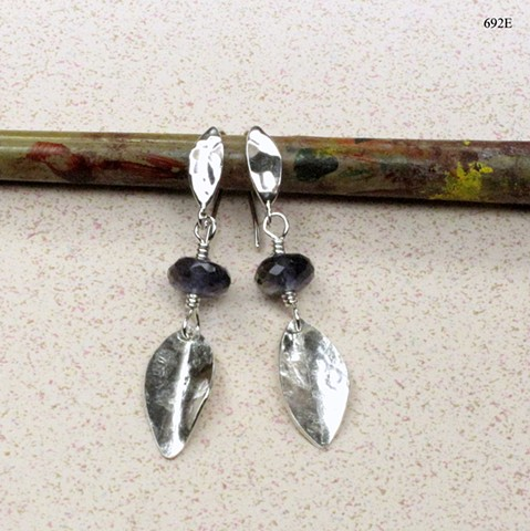 silver leaf earrings with faceted iolite on silver leaf ear wires (#692E)