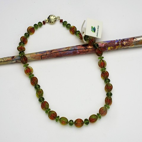 "unusual vintage w. German givre (infused color) beads paired with vintage Czech glass beads and finished with a vermeil box clasp, 17 1/2"" (#235)"