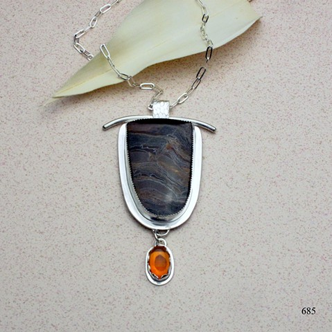 "Australian tiger's eye and Mexican opal sterling pendant on 20"" sterling chain (#685)"