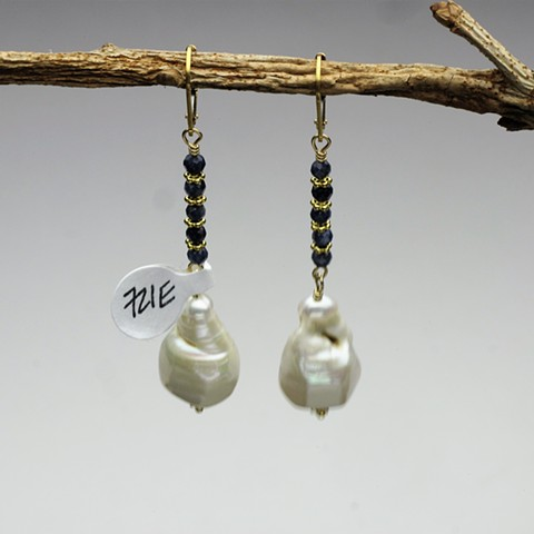 "a large baroque pearl hangs from tiny faceted sapphires w/ vermeil Bali spacers on gold filled leverback (2"") (#721E)  for coordinating necklace, see faceted sapphire lariat in necklace folder"