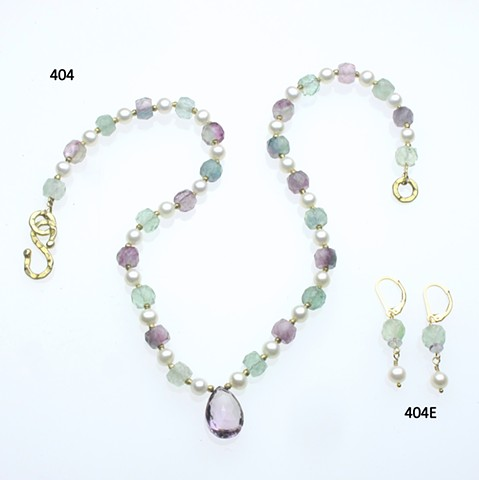 a faceted amethyst briolette surrounded by pearls, faceted fluorite rondelles with vermeil findings (#404) with coordinating earrings on g/f leverbacks (#404E)