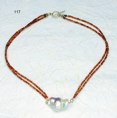 2 strand small faceted spessartite (mandarin garnet) w/ large baroque pearl, 24 kt vermeil beads, gold filled toggle (#117) for coordinating earrings, see baroque pearls w/ spessartite dangles (#722E)