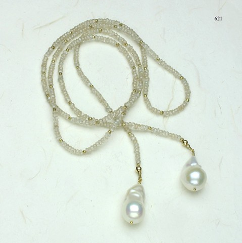 a true sparkler, faceted natural zircon accented by vermeil beads, baroque pearl danglers