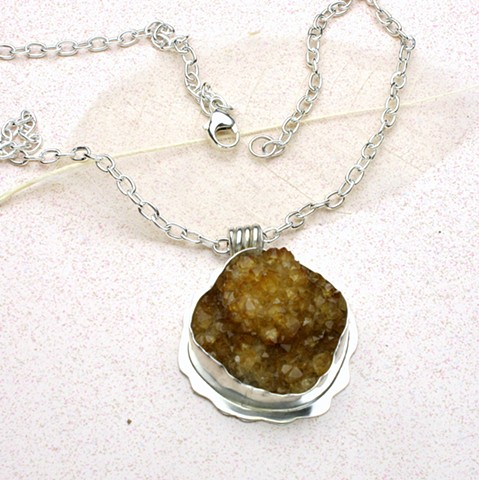 "natural crystallized citrine silver pendant on 20"" silver link chain with silver lobster clasp (#566)"