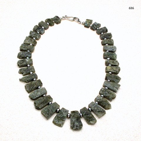 "translucent labradorite collar, accented with gray pearls, finished with a sterling silver hook & eye clasp, 18"" ( (#686)"