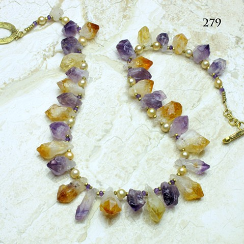 "amethyst & citrine crystal prisms accented with faceted amethyst, champagne pearls & brass findings, toggle closure, 22"" length ( #279)"