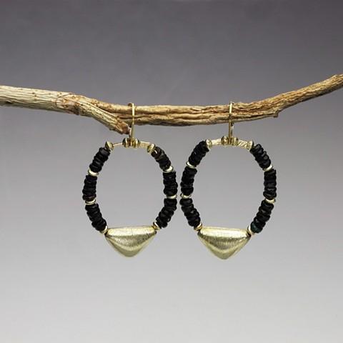 "black opal rondels w/ vermeil bead on g/f leverbacks (hang 1 1/2"") (#730E)"