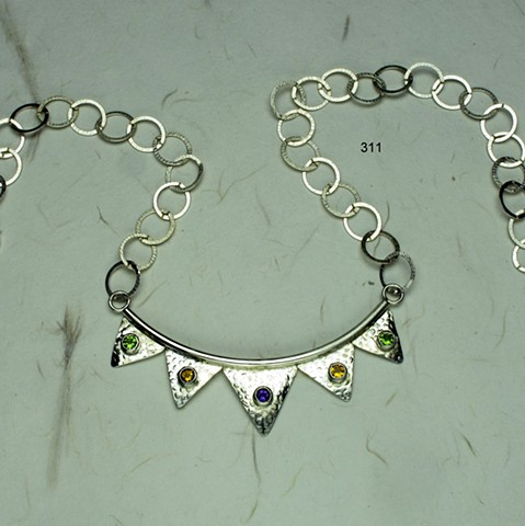 "curved sterling neck piece w/ five 5mm bezel set semi-precious stones, peridot, citrine and amethyst with sterling link chain and lobster clasp (adjustable length, max 21"") (#311)"