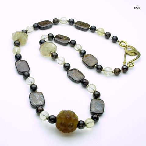 "earthtoned beauty: 25"" bronzite, citrine & quartz w/ focal glass bead, accented with brass beads and finished with a brass clasp (#658)"