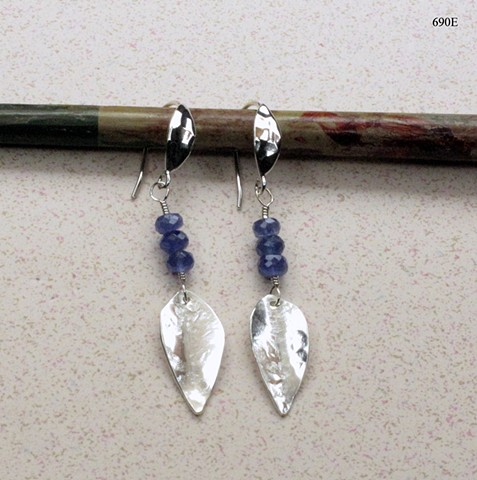 silver leaf dangling earrings with faceted tanzanite on silver leaf ear wires (#690E)