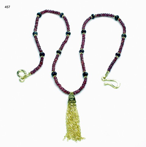 "faceted rubies w/ 2"" g/f chain tassel, g/f findings (24"") (#457)"