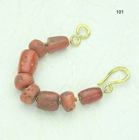 old African coral bracelet w/ brass beads & large hook clasp #101B