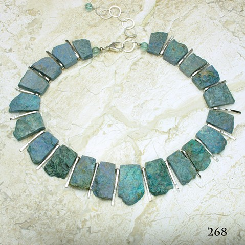 "unpolished German cut chrysocolla w/ forged silver bars, silver chain & lobster clasp, adjustable length (18-22"") # 268"