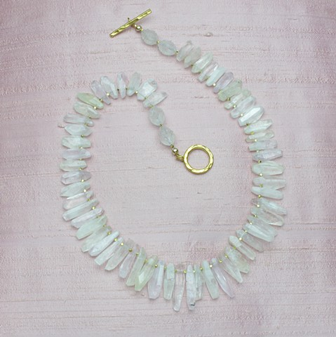 delicately hued faceted kunzite shards with vermeil findings #111