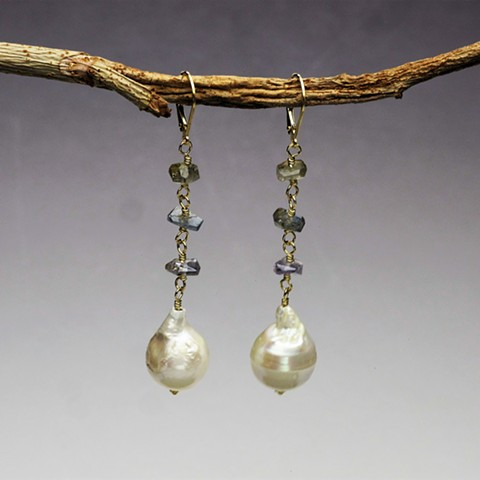 """wire wrapped rough cut light blue sapphires w/ baroque pearl on g/f leverback (hang 2"""") (#734E)"""