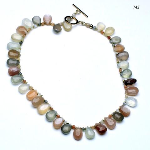 ornage moonstone briolettes (#742)
